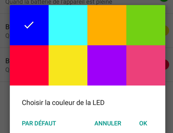 Couleur de led