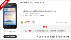 Huawei Ascend Y330 chez free mobile