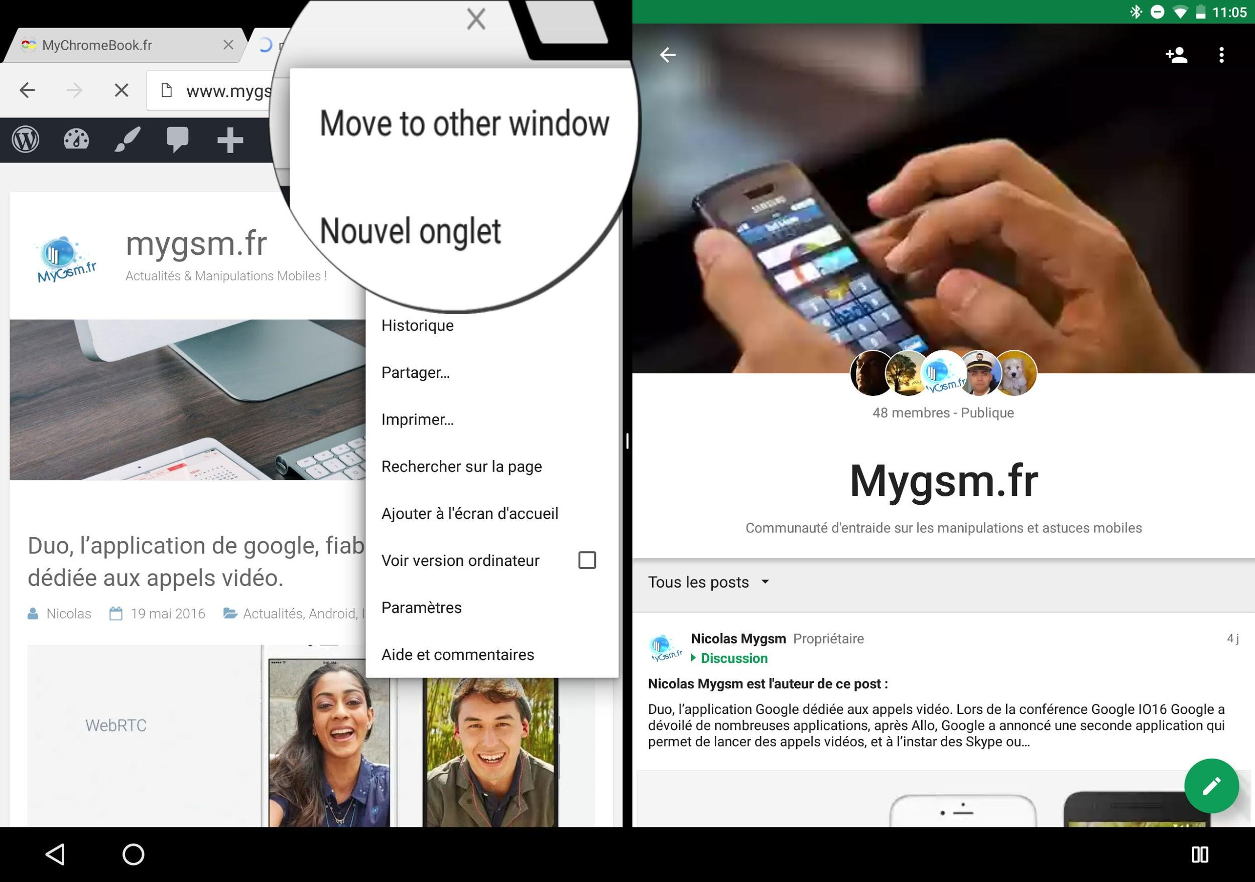 D placer les fen tres sur android n for Multi fenetre android