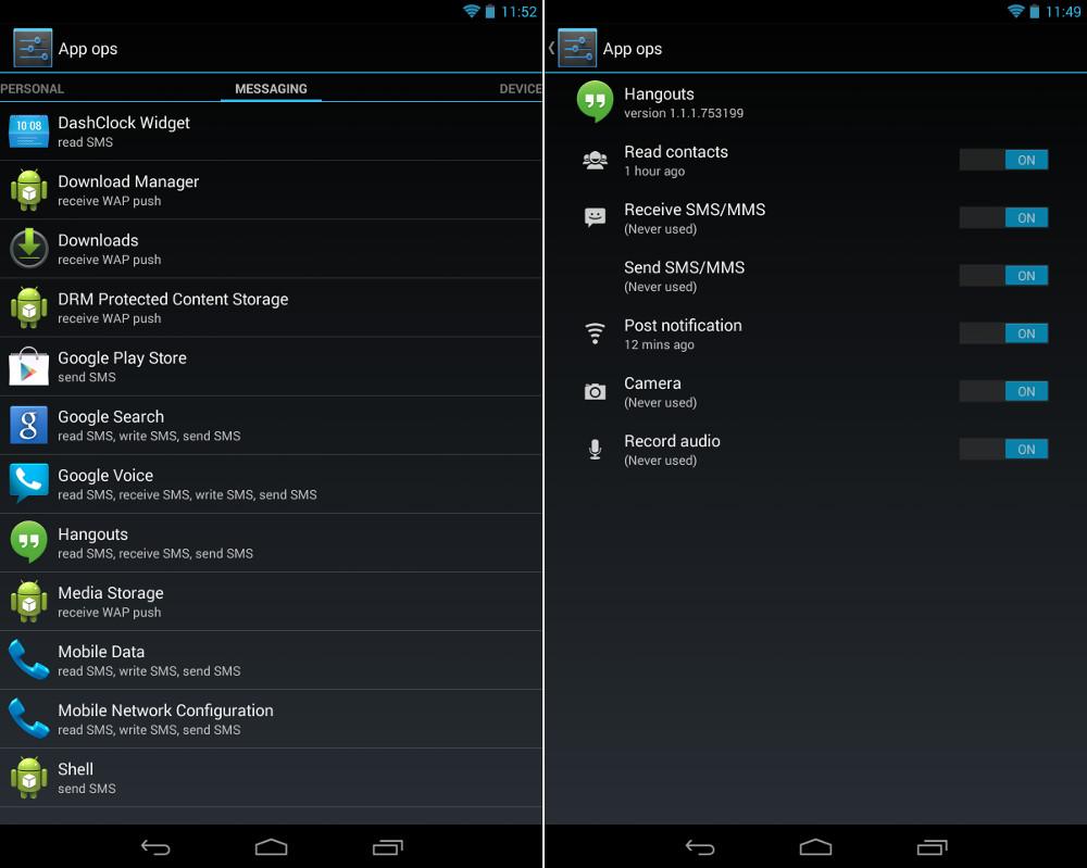 Android 4.3 : une fonctionnalité cachée pour contrôler les permissions des app ops