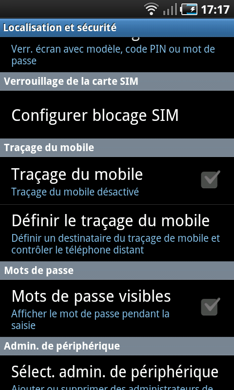 android tracage du mobile